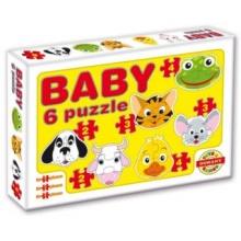 DOHÁNY Baby puzzle Zvířecí hlavičky 6v1 (2-4 dílky)