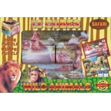 DOHÁNY Obrázkové kostky Safari, 12 kostek