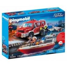 PLAYMOBIL Hasičské auto s hasičským člunem 70054