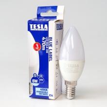 CL140640-7 Tesla - LED žárovka CANDLE svíčka, E14, 6W, 230V, 470lm, 25 000h, 4000K studená bílá, 170°