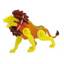 RoboTime Dřevěná skládačka  lev+ barvy a štětec