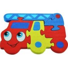 Tradiční dřevěná hračka Dřevěné puzzle Hasiči 5 dílků