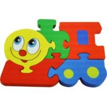 Tradiční dřevěná hračka Dřevěné puzzle Mašinka 5 dílků