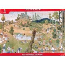 Tradiční dřevěná hračka Dřevěné puzzle Josef Lada - Léto 40 dílků