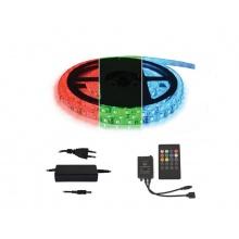 LED pásek 12V 5050  60LED/m IP65 max. 12W/m RGB, sada s 12V adaptérem a music ovladačem, zalitý