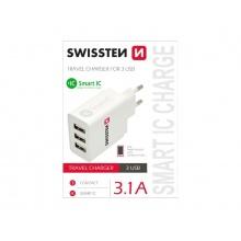 Adaptér síťový SWISSTEN SMART IC 3x USB 3,1A POWER BÍLÝ
