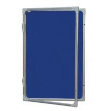 Vitrína s vertikálním otevíráním 120x90cm,textilní.vnitřek, modrý se zámkem