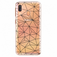 Plastový kryt  - Abstract Triangles 03 - black - Samsung Galaxy A40