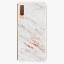 Plastový kryt  - Rose Gold Marble - Samsung Galaxy A7 (2018)