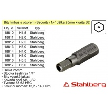 Bit Imbus H6x25mm 1/4' Security Stahlberg