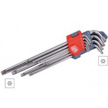 Klíče Torx, zahnuté, prodloužené, sada 9 kusů, Extol Premium