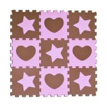 SUN TA TOYS Pěnové puzzle Hvězdy a srdce růžové S4 (30x30)
