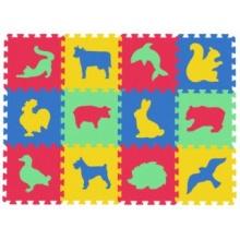 MALÝ GÉNIUS Pěnové puzzle MAXI 12 Zvířata domácí,divoká silný (mix-4)