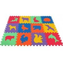 MALÝ GÉNIUS Pěnové puzzle MAXI 12 Zvířata domácí,divoká silný (mix-6)
