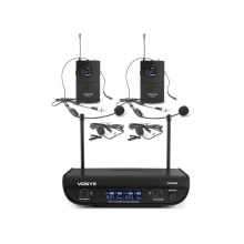 Mikrofon bezdrátový VONYX WM82, digitální UHF, 2 kanálový, 2x náhlavní mikrofon