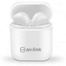 AV:link Ear Shots, bezdrátová Bluetooth sluchátka s nabíjecím pouzdrem, bílá