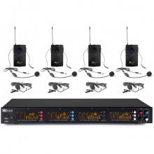 Power Dynamics PD504B, 4-kanálový UHF mikrofonní set, 4x hlavový/klopový mikrofon