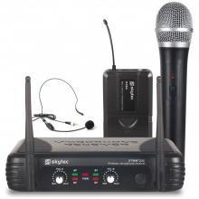 Skytec UHF mikrofonní set 2 kanálový, 1x ruční mikrofon, 1x náhlavní mikrofon
