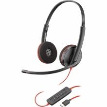 BLACKWIRE-C3220-USB-C Plantronics - náhlavní souprava pro PC/mobil na obě uši, spona přes hlavu, tl. přijmu, USB-C
