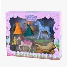 Sada kočár s koňmi a princezna s odnímatelnými šaty (od 3 let)