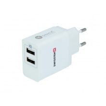 Adaptér síťový SWISSTEN SMART IC 2x USB 3,1A POWER BÍLÝ