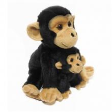 Plyšová opice sedící s mládětem, se zvukem, 27 cm (od 0 let)