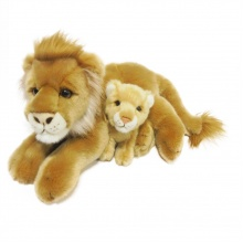 Plyšový lev 40 cm s mládětem 13 cm (od 3 let)