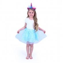 Dětský kostým modrá tutu sukně s čelenkou jednorožec (od 3 let)
