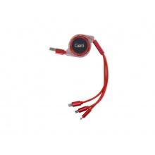 Kabel Geti GCU 02 USB 3v1 červený samonavíjecí