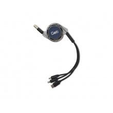 Kabel Geti GCU 01 USB 3v1 černý samonavíjecí