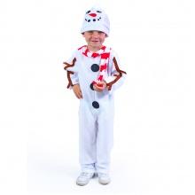 Dětský kostým sněhulák s čepicí a červenou šálou (M) (od 6 let)
