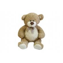 Medvěd s mašlí velký plyš 80cm béžový kudrnatý 0+