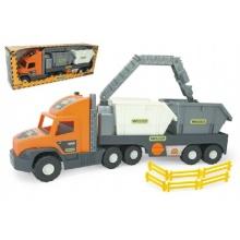 Auto Super Tech Truck návěs s rukou a  kontejnery plast 78cm v krabici Wader
