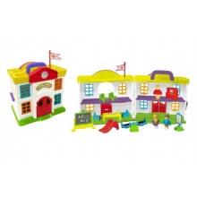 Domeček škola s doplňky plast 15ks v krabici 64x33x13cm