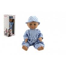 Panenka/Miminko Hamiro 40cm, pevné tělo sv. modré kalhoty + košile+klobouček v krabici 20x43x13cm