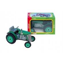 Traktor Zetor zelený na klíček kov 14cm 1:25 v krabičce Kovap