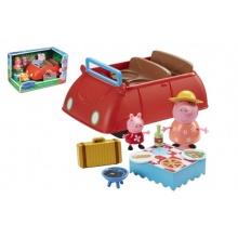 Prasátko Peppa/Peppa Pig plast auto + 2 figurky s doplňky v krabici 32x19x18cm