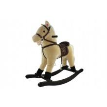 Kůň houpací béžový plyš výška 71cm nosnost 50kg v krabici