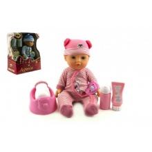 Panenka miminko Agusia plast 27cm pevné tělo pijící čůrající s doplňky asst 2 barvy  v krabici