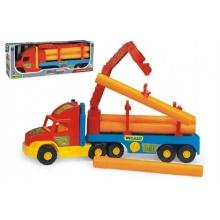 Auto Super Truck stavební návěs s rukou a rourami Wader 76cm asst 2 barvy v krabici