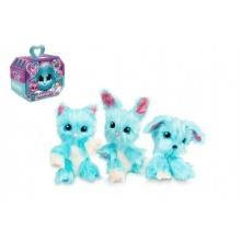 Zvířátko FUR BALLS plyš Touláček pejsek/kočka/králík modrý s doplňky v krabici 24x20x10cm