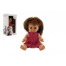 Panenka/Miminko Hamiro 30cm, pevné tělo, šaty červené bílé s puntíky v krabici 20x35x13cm