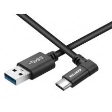 Datový a nabíjecí kabel USB - USB Type-C, 100cm, konektor v úhlu 90°, černý