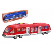 Metro/vlak/tramvaj plast 44cm na baterie se světlem se zvukem 2 barvy v krabici 46x12,5x7,5cm