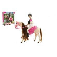 Kůň česací hýbající se + panenka žokejka Anlily plast v krabici 35x36x11cm