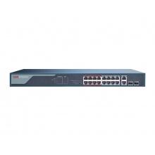 DS-3E0318P-E(B), switch 16x100TX PoE + 2x Uplink 1000M Combo port, 230W, Super PoE-dosah až 250m