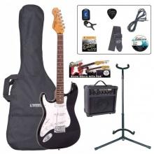 Encore EBP-LHE6BLK Electric Left Hand Guitar Outfit Gloss Black