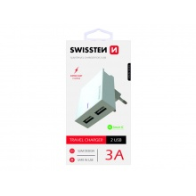 Adaptér síťový SWISSTEN SMART IC 2x USB 3A POWER BÍLÝ