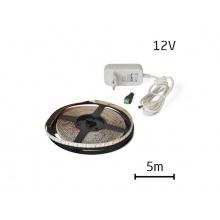 LED pásek sada 5m 12V 2835 60LED/m IP65 6W/m bílá studená +zdroj
