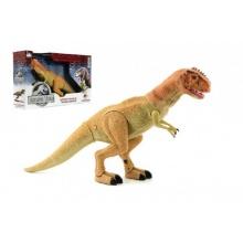 Dinosaurus chodící plast 45cm na baterie se světlem a zvukem v krabici 51x31x12cm